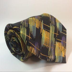 "Serica Elite black gold geometric silk tie 57/4"""